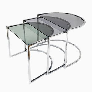 Vintage Chrome Nesting Tables, 1970s