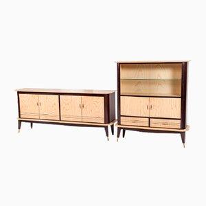Juego de aparador y mueble bar vintage de fresno y caoba, años 50