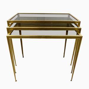 Brass Nesting Tables from Deutsche Werkstätten, 1950s