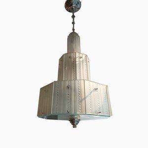 Lámpara de araña grande Art Déco de Genet & Michon