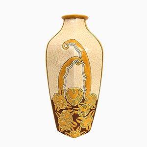 Jarrón francés Art Déco de cerámica agrietada de Emaux de Longwy, años 30