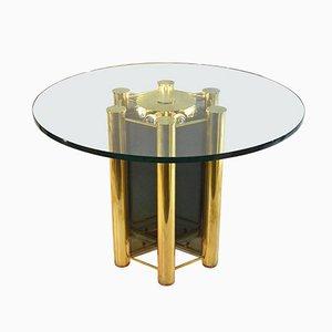 Mesa de comedor italiana redonda de latón iluminada, años 60