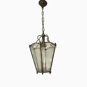 Italian Vintage Bronze & Etched Glass Pendant Lamp
