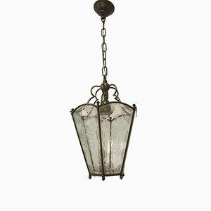 Lampe à Suspension Vintage en Bronze & Verre Gravé, Italie