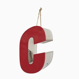 Enseigne Lettre C Vintage Rouge en Chrome, 1970s