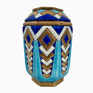 Art Deco French Ceramic Vase with Craquelure by Emaux de Longwy, 1930s