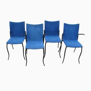 Sedie in metallo e stoffa blu di KFF Design, anni '80, set di 4