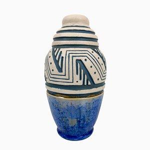 Jarrón francés Art Déco de cerámica esmaltada de Mougin, años 30
