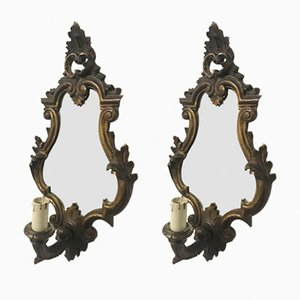 Italian Wooden Sconces with Mirrors, 1920s, Set of 2