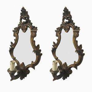 Italienische Holz Wandleuchten mit Spiegel, 1920er, 2er Set