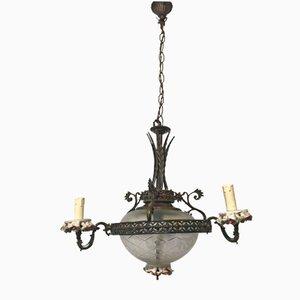 Lámpara de araña italiana vintage con porcelana de Capodimonte y bronce
