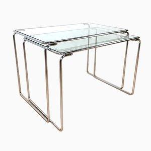 Mesas nido con tableros de vidrio, años 60