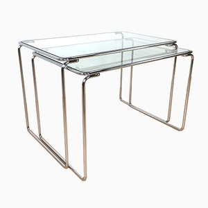 Nesting Tables with Glass Tops, 1960s