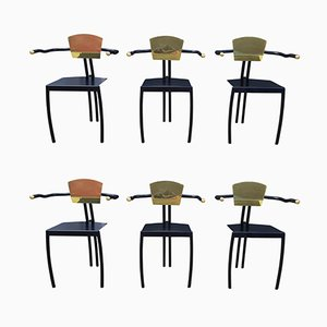 Brass & Black Lacquered Metal Chairs, Set of 6, 1980s