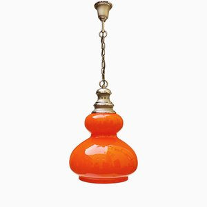 Orange Glass Ceiling Lamp, 1970s