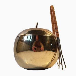 Juego de cubitera y pinzas de latón, años 60