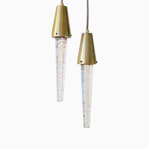 Glas & Messing Eiszapfen Hängelampen von Atelje Engberg, 1960er, 2er Set