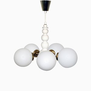 White-Lacquered Wood and Opaline Glass Chandelier from Orion, 1960s