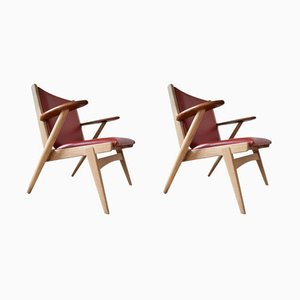 No. 14 Lounge Chairs by Arne Wahl Iversen for Hans Hansen & Sons, 1950s