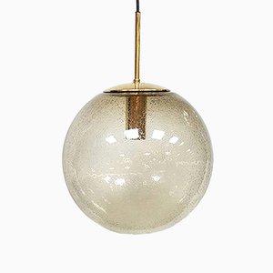 Lampe à Suspension en Laiton & Globe de Verre de Limburg, 1970s
