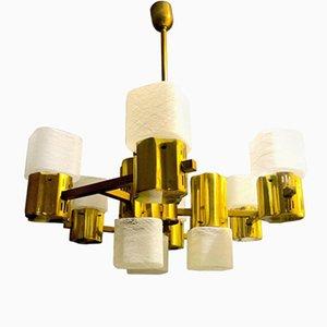Lámpara de araña de cristal de Murano con estructura dorada de Gaetano Sciolari, años 60