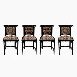 Antike Cabaret Fledermaus Stühle von Josef Hoffmann für Jacob & Josef Kohn, 4er Set