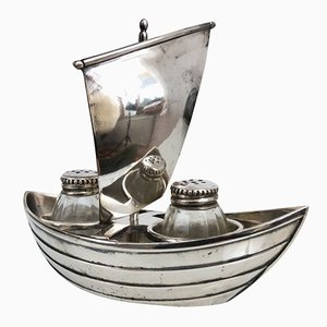 French Silver Plated Salt and Pepper Shakers in a Sailboat from Gallia, 1930s
