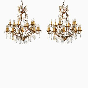 Antique Golden Wrought Iron & Crystal Drops Chandeliers, Set of 2