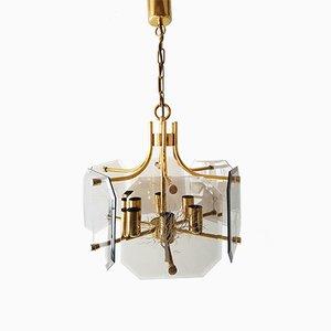 Lampe à Suspension en laiton & Verre par Luigi Colani, 1970s