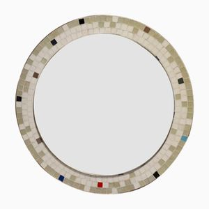 Mid-Century Round Multicolored Mosaic Wall Mirror, 1950s
