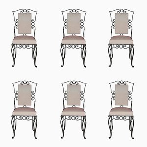 French Iron Chairs, 1960s, Set of 6
