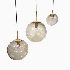 Kugelförmige Vintage Hängeleuchte aus Messing von Glashütte Limburg