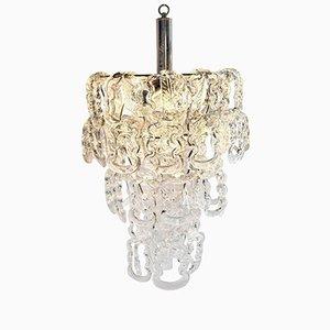 Lámpara de araña con vidrio en forma de cadena de Angelo Mangiarotti para Vistosi, años 60