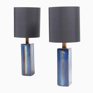 Lámparas de mesa de cerámica modeladas a mano de Søholm, años 60. Juego de 2