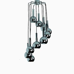 Lámpara de araña Eyeball Era Espacial grande, años 70