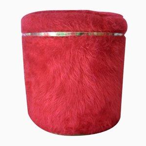 Pouf vintage in pelliccia finta rossa di Pelfran per Rhône-Poulenc, anni '60
