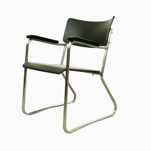 Vintage Bauhaus Tubular Steel Armchair in Black and Chrome from Mauser