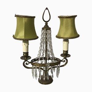 Lampe de Bureau Vintage en Forme de Chandelier à Perles de Cristal, Italie