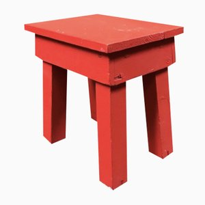 Vintage Handmade Milking Stool in Red