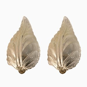 Vintage Italian Murano Glass Leaf Sconces by Ercole Barovier, Set of 2