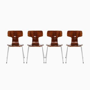 Model 3103 Stacking Chairs by Arne Jacobsen for Fritz Hansen, 1960s, Set of 4