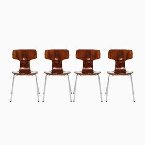 Sedie impilabili modello 3103 di Arne Jacobsen per Fritz Hansen, anni '60, set di 4
