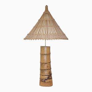 Lámpara de mesa francesa vintage de bambú, años 70