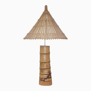 Vintage French Bamboo Table Lamp, 1970s