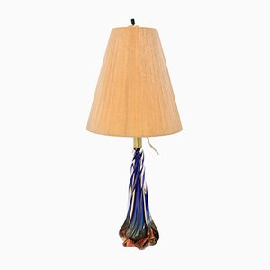 Mid-Century Blue Conical Glass Table Lamp, 1950s