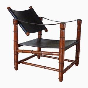 Safari Leather Armchair, 1940s
