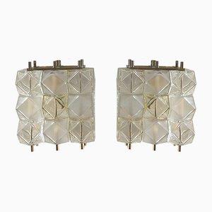 Italienische kubische Mid-Century Murano Glas Wandlampen, 2er Set