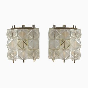 Mid-Century Italian Murano Glass Cube Sconces, Set of 2