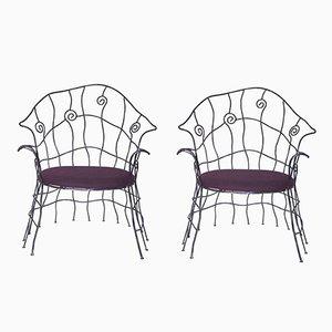 Französische Vintage Eisen Stühle, 1970er, 2er Set