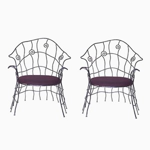 Vintage French Iron Chairs, 1970s, Set of 2